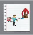firefighter extinguishes fire vector image