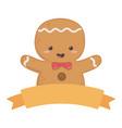 gingerbread man ribbon decoration merry christmas vector image vector image