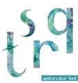 Green-blue watercolor font QRST vector image vector image