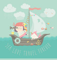 happy girl with her unicorn boating at their ship vector image vector image