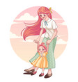 happy mothers day greeting card young mother vector image vector image