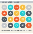 Information icon set Multicolored flat buttons vector image vector image