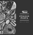 italian pasta with additions design template hand vector image vector image