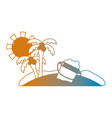 line summer beach and tropical paradise vector image vector image