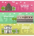 Madrid tourist landmark banners vector image vector image