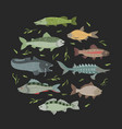 marine fish banner with fishes pattern round vector image vector image