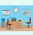 office room interior with furniture calendar vector image vector image