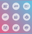 optimization icons line style set with customers vector image vector image