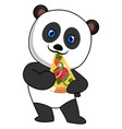 panda eating pizza on white background vector image vector image