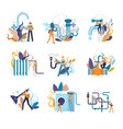 plumber service of handyman fixing damages at home vector image vector image