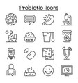 probiotics bacteria icon set in thin line style vector image vector image