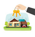 real estate agent gives new house keys in hand vector image