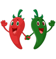 Red and green pepper holding hand vector image vector image