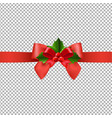 red ribbon with holly berry transparent background vector image vector image
