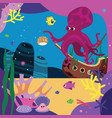 sea story octopus and bubblefish vector image vector image