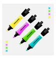 set of realistic highlight permanent markers vector image