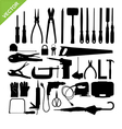 set tools silhouette vector image vector image