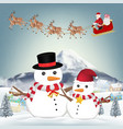snowman and santa claus in winter village vector image