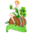 St Patrick Day girl on the keg vector image vector image