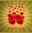 valentines day with hearts and pattern background vector image