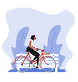 vintage style woman riding a bicycle background vector image vector image