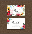 watercolor floral visiting card template vector image vector image
