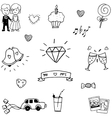 Wedding element doodle hand draw vector image vector image