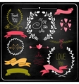 Wedding graphic set on chalkboard vector image vector image