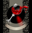 wine list with wineglass red splashed vector image