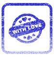 with love stamp seal framed textured icon vector image vector image