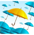 Yellow Umbrella on Blue Fly High vector image vector image