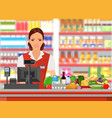 groceries cashier at work vector image