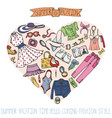 sammer fashion setwomancolored wear in heart vector image