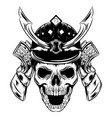 a skull face with samurai helmet vector image