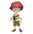 A smiling kid and a slice of cake vector image