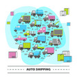 auto shipping round concept with different types vector image