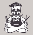 barberman skull vintage drawing vector image vector image