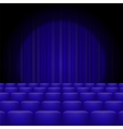 Blue Curtains with Spotlight and Seats