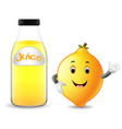 bottle of lemon juice with cute lemon cartoon vector image