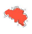 cartoon belgium map icon in comic style belgium vector image vector image