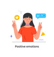 cheerful female character is showing peace gesture vector image vector image