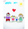 children colorful hand drawn of man woman and vector image vector image
