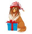 Christmas theme with dog and present box vector image vector image