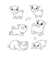 cute cartoon pug set cheerful funny dog picture vector image