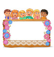 cute kids on wooden board with blank papper banner vector image vector image