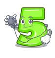 doctor character number five at wooden door vector image vector image