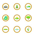 environment icon set cartoon style vector image