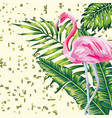 flamingo and leaves print digital background vector image vector image