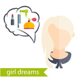 Flat design of a girl with hairstyle and icons of vector image vector image