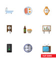 flat icon life set of cellphone whiteboard timer vector image vector image